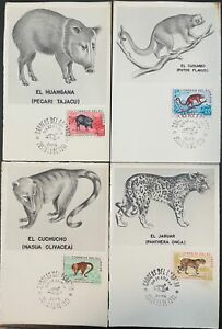 1961 Ecuador FDC #676-9 complete on lot of 4 Maximum Cards; Animals *d