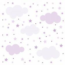 141 Wandtattoo Wolken, Sterne und Punkte Set lila flieder - Kinderzimmer Deko