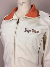 Pepe Jeans London Vintage Women's Jacket Size Large Zip Up Track White Orange