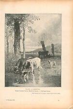 Vaches à l'Abreuvoir de Constant Troyon Musée Louvre GRAVURE ANTIQUE PRINT 1909