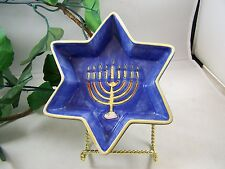 Jewish Star of David Shaped Hebrew Decorative Dish with Menorah Ceramic