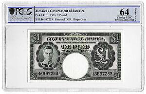 1955 Jamaica £1 One Pound Banknote TDLR P41b Choice Unc 64