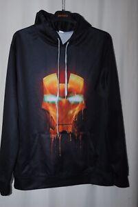 Mens Black Marvel Iron Man Hoody Sweatshirt Size XL