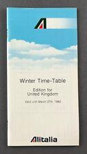 ALITALIA UK TIMETABLE WINTER 1982 ROUTE MAP