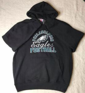 Philadelphia Eagles Majestic Unisex Hoodie Black Graphic Pullover Football L New