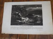 1820.L'eau. chien du voyageur.gravure aquatinte.29/42cm.Valais..Martinet (Charon