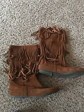 Minnie Tonka 3 Layer Fringe Brown Size 10 Suede Boot Womens Shoe Flat Moccasin