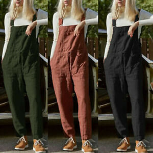 Women Fashion Cotton Hemp Dungarees Romper Pure Color Overalls Casual Jumpsuits
