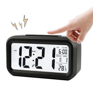 Digital LED Wecker Tischuhr Alarmwecker Thermometer Kalender Temperatur Schwarz