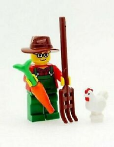 LEGO Farmer Minifigure with Chicken Carrot and Pitch Fork NEW