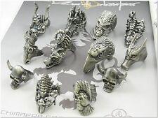 Wholesale Lot of 25 Skull Celtic Biker Gothic Punk Heavy Metal Halloween Rings