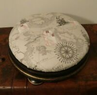 Antique Edwardian Oak Footstool with Circular Cushion Top Royal Navy Ship Fabric