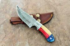 Handmade Custom Forged Damascus Steel TEXAS Flag USA Hunting Bowie Knife