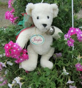 """VINTAGE WHITE TEDDY BEAR JINGLES W BELL NORTH AMERICAN CO 10"""" CURLY PLUSH W TAG"""