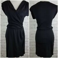 Michael Stars Faux Wrap Dress Sleeveless Black Shimmer Ruched Stretch One Size
