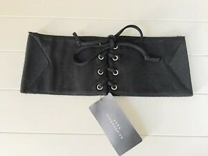 Ladies Zara Black Corset Belt With Metal Eyelets & Cord Fastening UK 34 (L) BNWT