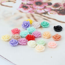 20Pcs Resin Beads Rose Flower Flat Back Embellishment Cabochons Craft Decoden