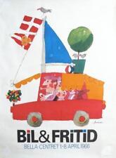1966 Vintage Danish Mid-Century Poster, Bil & Fritid, Kids Room Decor Wall Art