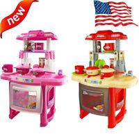 Kitchen Playset Kids Pretend Play Toy Toddler Kitchenware Cooking Light & Sound