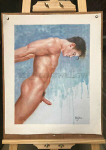 Original oil painting art  nude male 100% hand-painted on canvas 16x12 inch #183