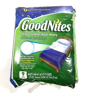 Goodnites Disposable Bed Mats Soft Quiet Material Comfortable Care Health 9 Qty