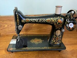 1912 Singer 66 Sewing Machine Red Eye Treadle Head Heavy Duty Serviced and Clean
