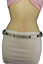 Cinturón de moda de mujer placa de metal plateado hebilla de cadera cintura  S M Larga Ajustado Estrecho f6f97a4791e8