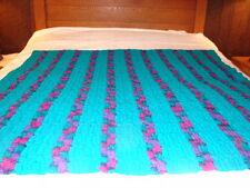 Handmade Handcrafted Crochet Afghan Throw Blanket  Nice Green and purple color