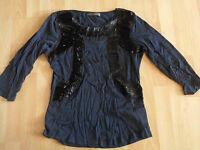 ZARA Collection tolles Shirt mit vielen Perlen blau-schwarz Gr. L TOP RA