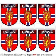 NORWAY Norwegian Shield NORGE 40mm Mobile Cell Phone Mini Stickers, Decals x6