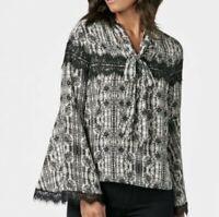 JustFab Women's Plus Size 3X Floral Lace Neck Tie Peasant Blouse