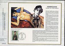 DOCUMENT CEF PREMIER JOUR  1980  TIMBRE   N° 2109 TABLEAU FEMME AUX YEUX BLEUS