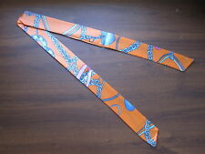 Orange Silk Twilly~Silk Handbag Tie~Silk Scarf~100% Silk Tie~Blue Heart Chains