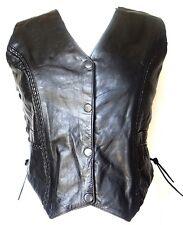 Ladies Genuine Leather Laced Waistcoat/Vest/Biker/Motorcycle Jacket Soft *SALE!*