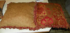 Pair of Burgundy Gold Fringed Decorative Print Throw Pillows  19 x 19
