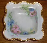Hand Painted Floral Footed Porcelain Bowl - Hutschenreuther Selb Bavaria Sylvia
