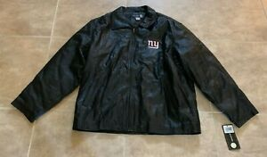 Reebok Owners Collection New York Giants Black Leather Zip-up Jacket XL NEW