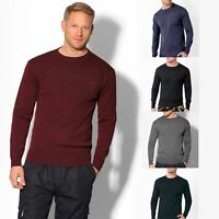 Mens Wool Knit Crew Neck Jumper Long Sleeve Sweater Plain Classic Pullover Top