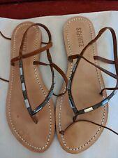 Schutz Womens jeweled ankle wrap Gladiator Sandals Flats  Leather Size 8.5B