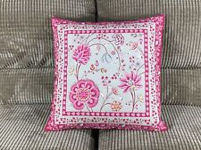 Pillow Cover Jacquard Woven Montespan Flowers Linen/Pink Made In France 18X18
