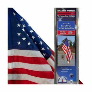 "Valley Forge 30"" x48"" Nylon United States Flag. Sewn Stripes & Embroidered Stars"