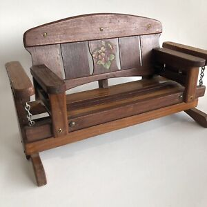 Vintage Wooden Doll Porch Swing Bench Sofa