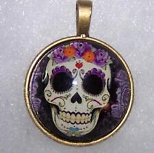 charm necklace Free $20 Gift 4U Skull Sugar Rose Punk Flower Homemade pendant