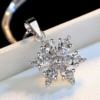 Damen 925 Silber Plattiert Halskette Zirkonia Silberkette Schneeflocke Anhänger