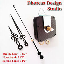 "(#07) Quartz Clock kit 1/2"" threaded LONG SHAFT,quiet motor, HANGER & 3.5"" hand"