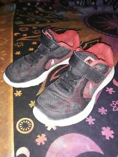 Toddler Boys Nike US Size 11c Black Red Gray Strap No Tie Tennis Shoes Sneakers