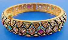 INDIAN 18k Yellow Gold, White & Yellow Sapphire, Ruby, Emerald, Enamel Bangle