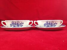 2 Arabia Made in Finland Blue Flower Design Broth Bowls And Saucers