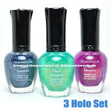 3 Kleancolor Nail Polish Chunky Holo Chrome Teal Purple Lacquer 3SET22