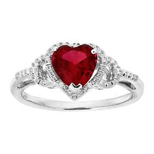 1 ct Heart-Cut Created Ruby Ring with Diamonds in Sterling Silver